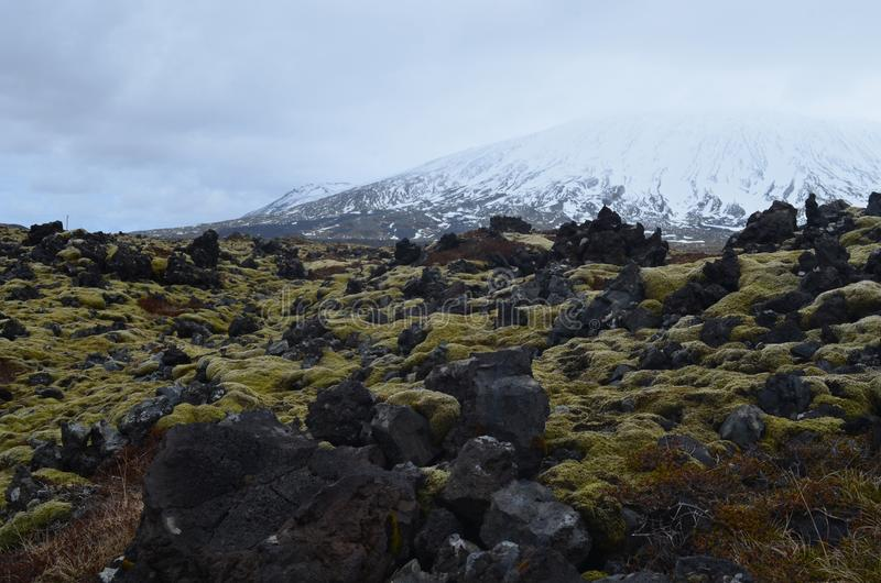 Snow capped mountain in Iceland with a lava field royalty free stock photography