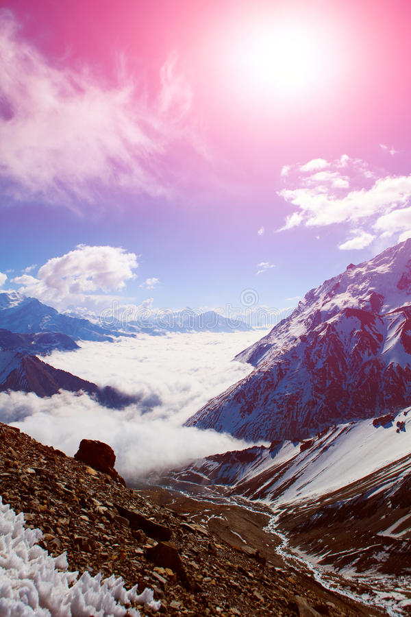 Snow capped mountains. Himalaya, Nepal. Trek around Annapurna mount stock photography