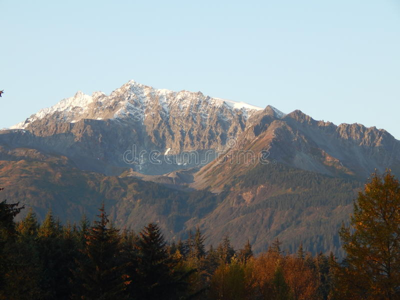 Snow capped mountains royalty free stock photo