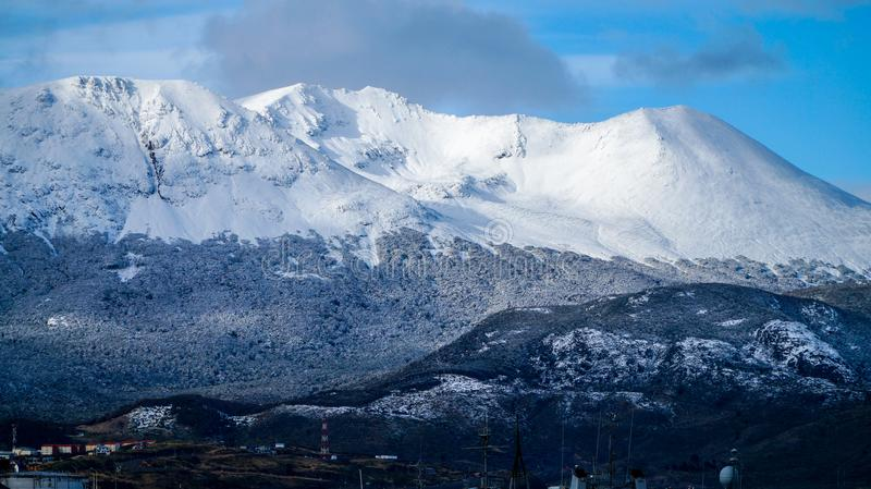 Snow Capped Mountains near Ushuaia, Argentina. stock images