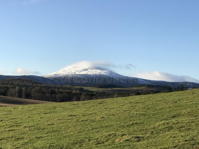 Snow capped mountains in Scotland royalty free stock photography