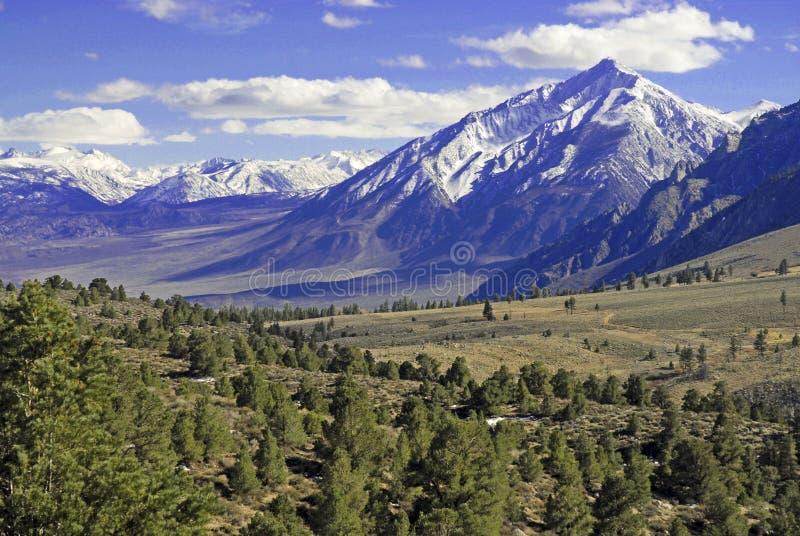 Snow Capped Mountains, Sierra Nevada Range, California. USA stock photo