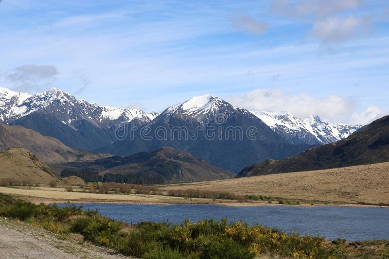 Snow capped mountains, South Island, New Zealand stock images