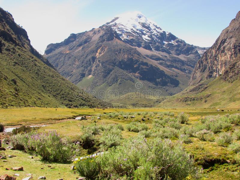 Snow-capped pieken in het Nationale Park van Huascaran, Peru royalty-vrije stock foto