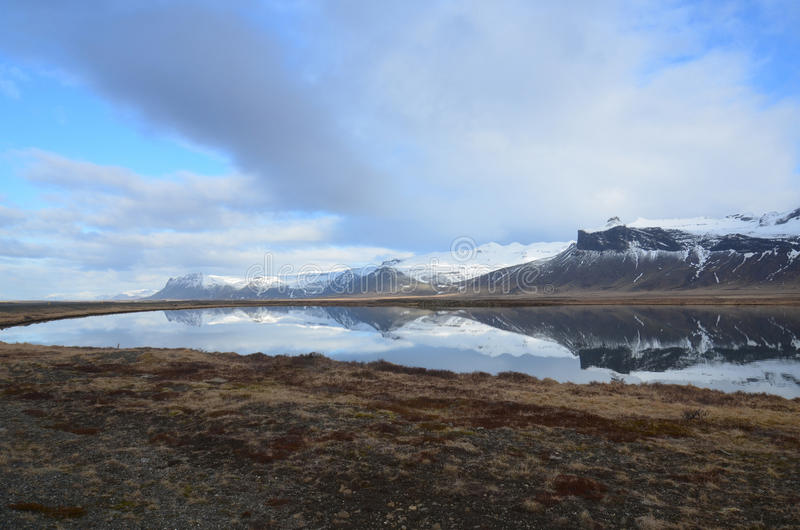 Snow Capped Rhyolite Mountains in Iceland stock photo