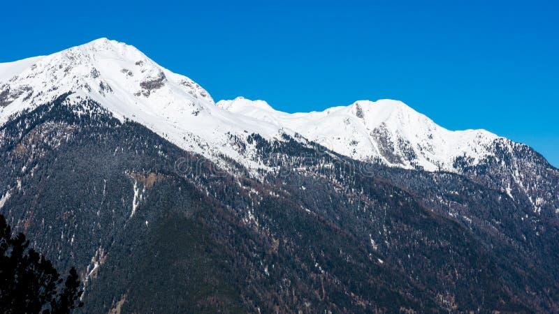 Snow capped summit under blue skies. Snow capped summit under clear blue panoramic skies stock image