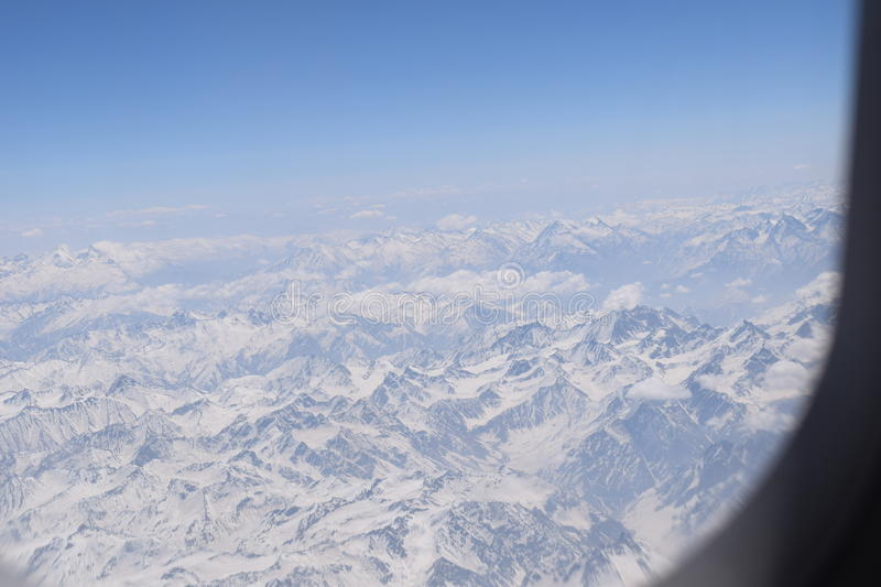 Snow caps. A click from the plane , leh ladakh snow caps mountains too high from ground stock image
