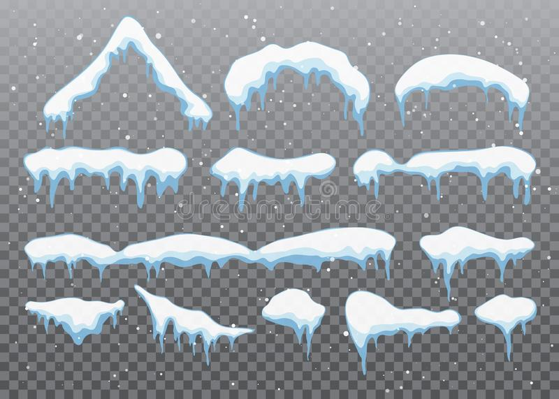 Snow caps, snowballs and snowdrifts set. Snow cap vector collection. Winter decoration element. Snowy elements on winter stock illustration