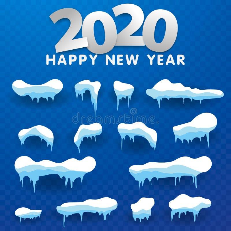 2020 Snow caps, snowballs and snowdrifts set. Snow cap vector collection. Winter decoration element. Snowy elements on winter vector illustration