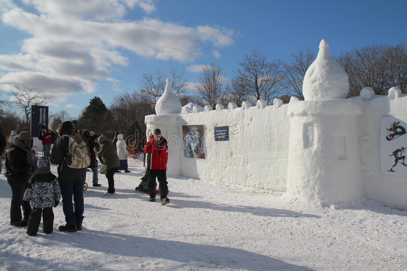 Snow castle. And art exhibition at Snow festival in February, Montreal stock photo