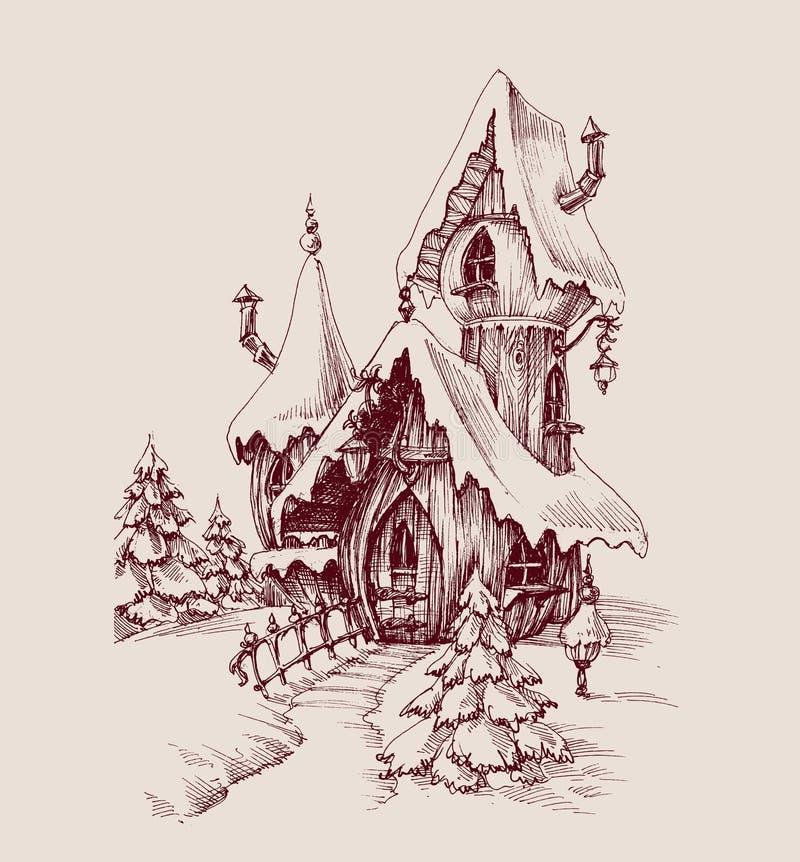 Snow castle drawing stock illustration