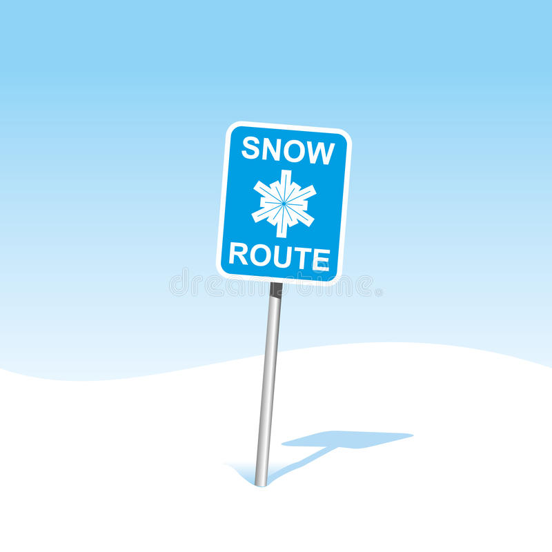 Snow caution sign. Snow route caution sign in winter landscape vector illustration