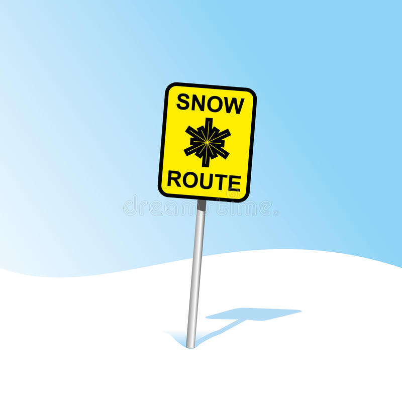 Snow caution sign. Snow route caution sign in winter landscape stock illustration