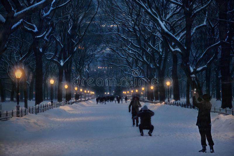 Snow at Central park stock image