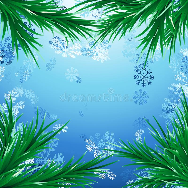 Snow Christmas background with green fir tree branches vector illustration