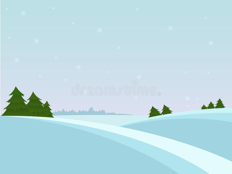Snow christmas landscape with fir tree and far for