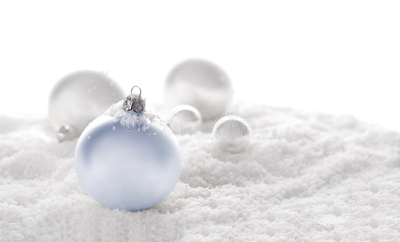 Snow christmas ornaments royalty free stock image
