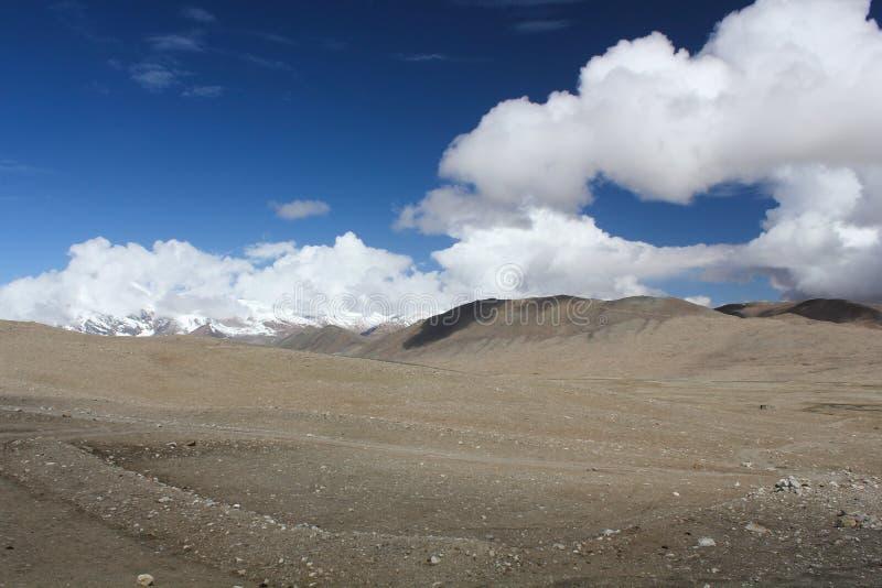 Snow clad mountains near Gurudongmar Lake stock photos