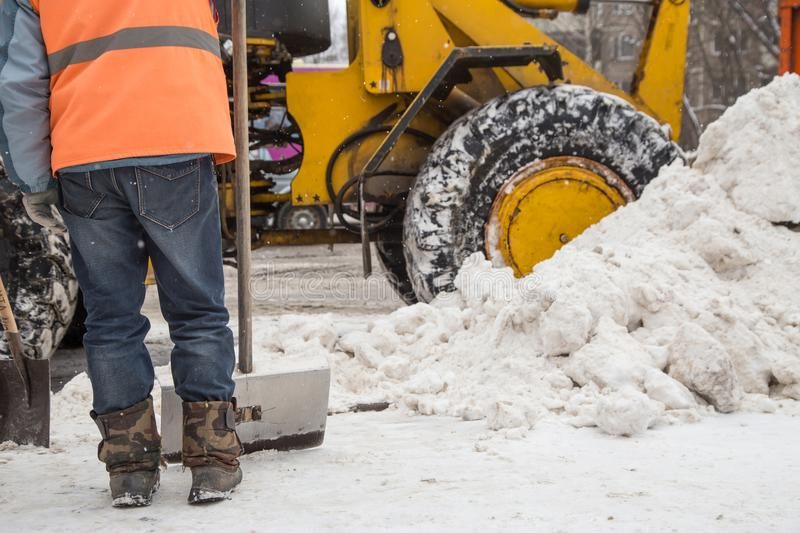 Snow clearance after a heavy snowfall royalty free stock photo