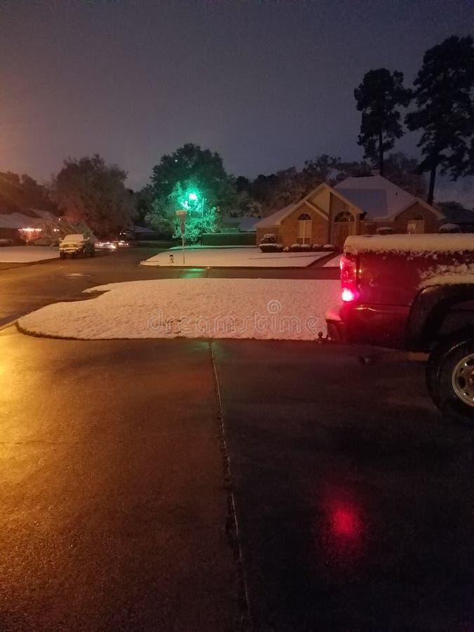 Snow cold texas night winter royalty free stock photo