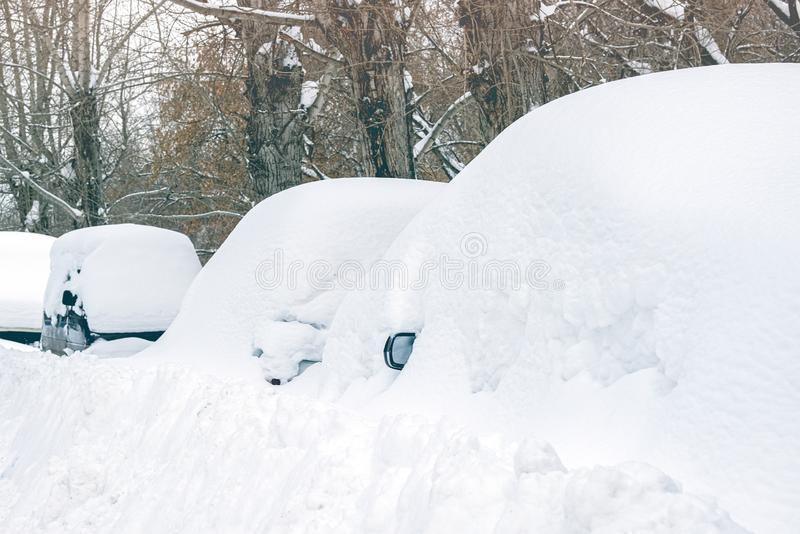 Snow collapse cars listed snow. Drifts royalty free stock images