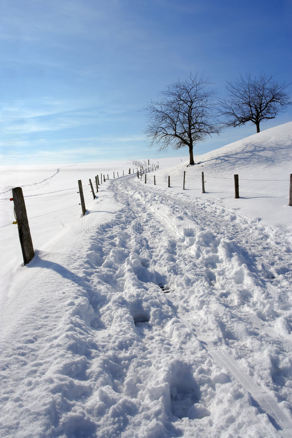 Snow on country path royalty free stock photo