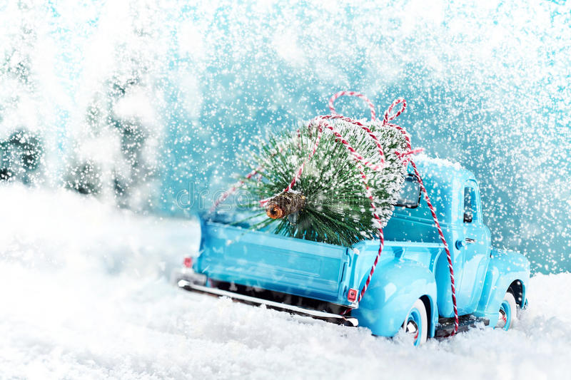 Snow countryside with christmas tree truck royalty free stock images