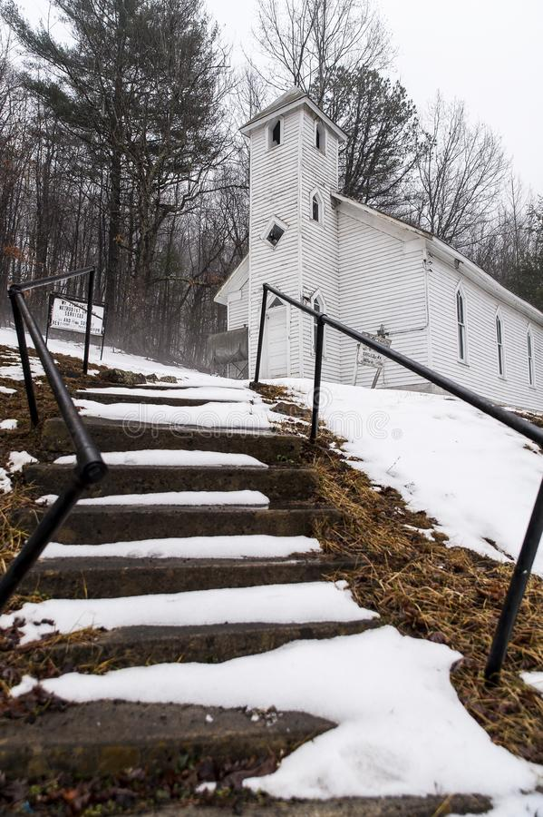 Snow Covered - Abandoned Mt. Zion United Methodist Church - Appalachian Mountains - West Virginia. A snow covered and abandoned Mt. Zion United Methodist Church royalty free stock image
