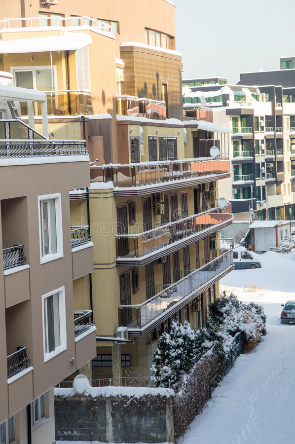 Snow-covered balconies buildings Pomorie, Bulgaria, winter 2017 royalty free stock image
