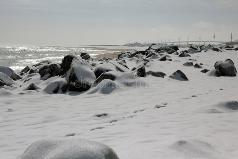 Snow Covered Beach, Sandy Hook, NJ. Snow covered beach after winter snow storm in Sandy Hook Beach, NJ. Photographed on Feb 22, 2015 stock photo