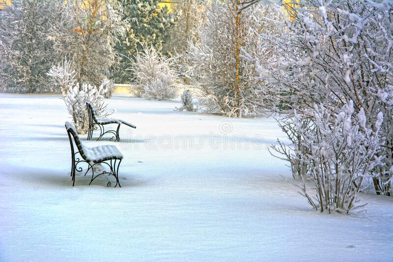 Snow covered bench in a deserted park. Winter. Russia royalty free stock photography