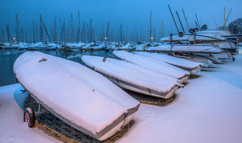 Download Snow Covered Boats III stock image. Image of vessel, winter - 28743043