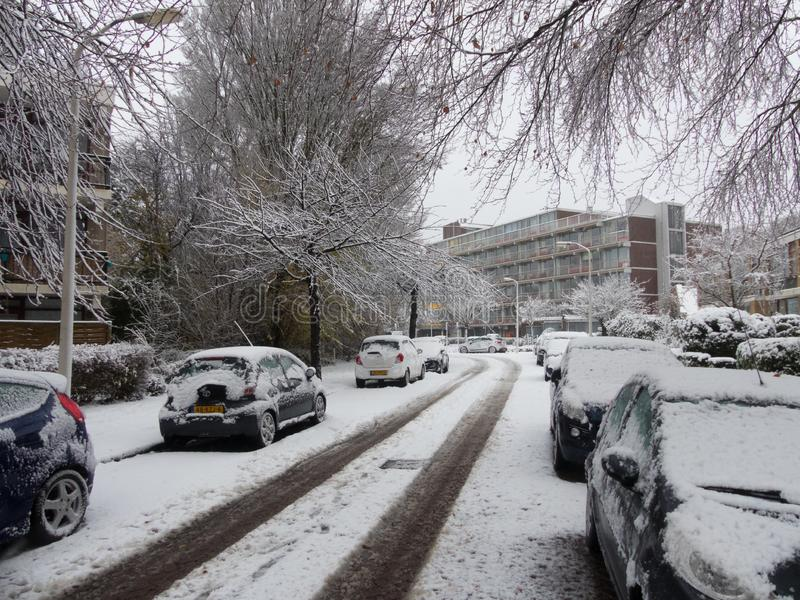 Snow covered cars parked on snowy tree lined suburban urban city street during snow storms in Europe stock photos
