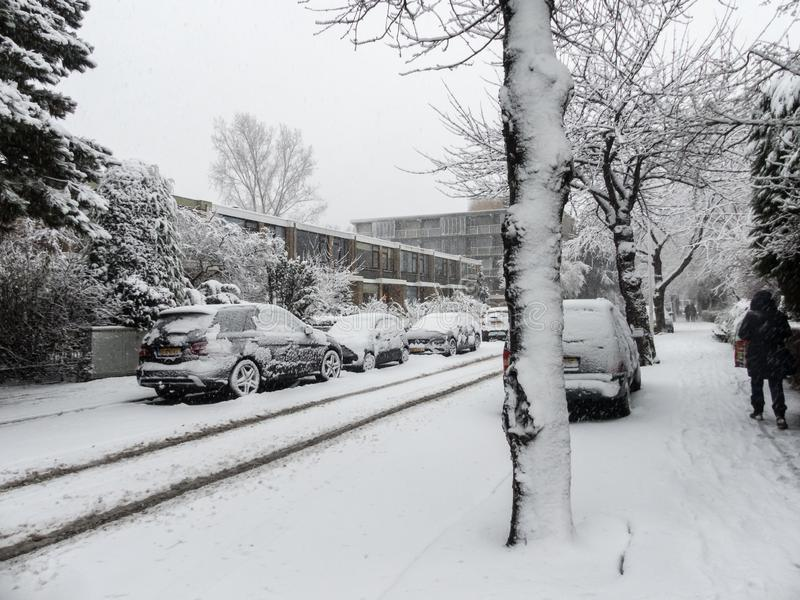 Snow covered cars parked on snowy tree lined suburban urban city street during snow storms. The Hague, the Netherlands - December 10, 2017: snow covered cars stock photos