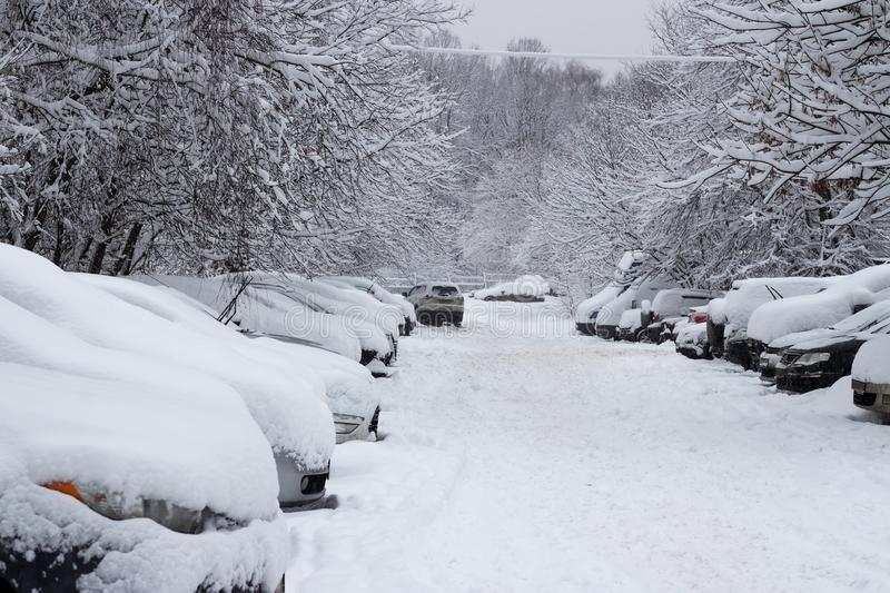 Snow-covered cars after heavy snowfall stock photography