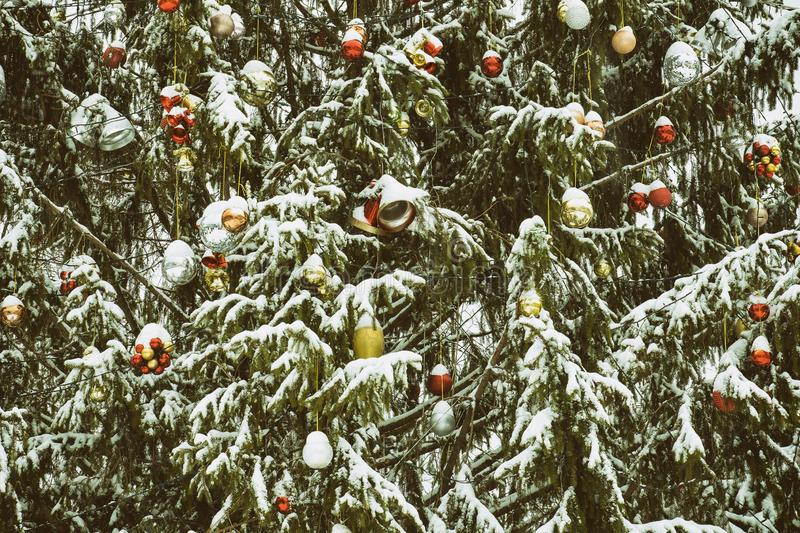 Snow-covered Christmas tree with decorations. New Year`s concept.  stock image