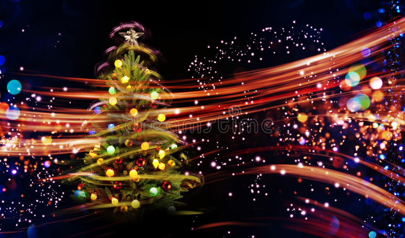 Download Snow Covered Christmas Tree With Multi Colored Lights Stock Image - Image of blue, celebration: 82094709