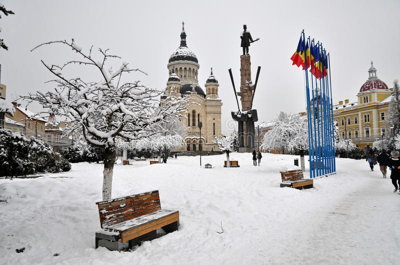 Download Snow Covered City Square, Cluj Napoca Editorial Stock Photo - Image: 23260953