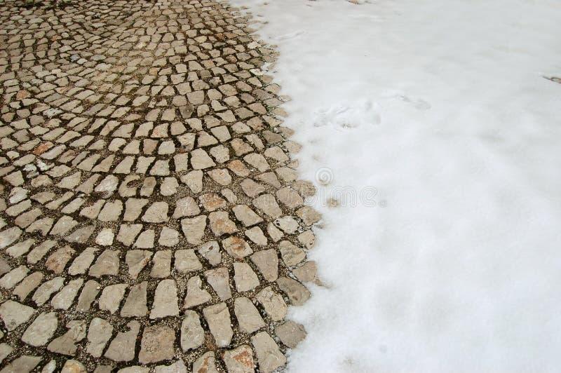 Snow-covered Cobblestone Floor Stock Photos
