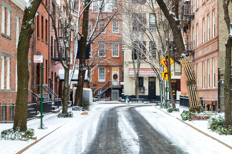 Snow covered Commerce Street after a winter storm in New York City royalty free stock images