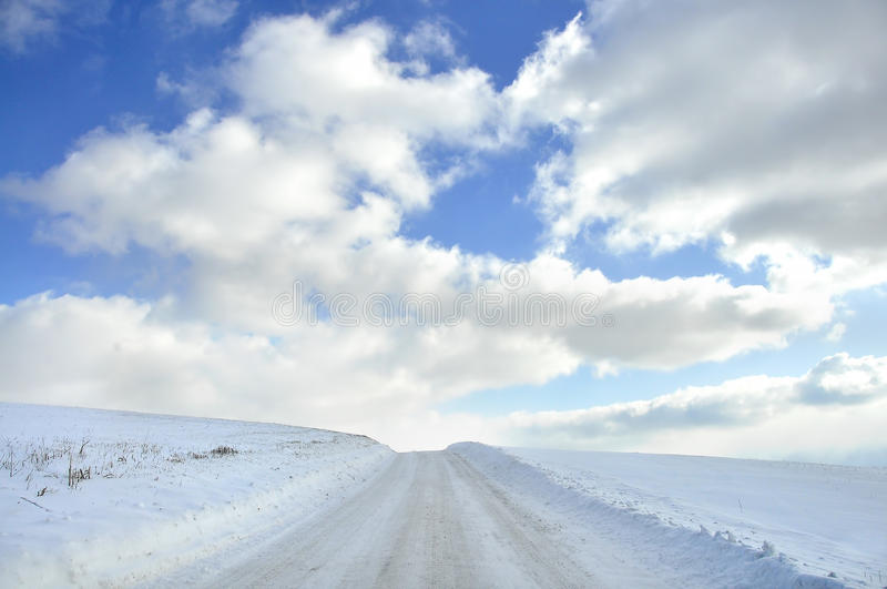 Download Snow covered country roa stock image. Image of road, rural - 25606031