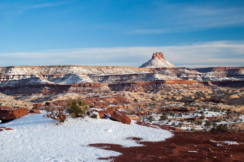 Snow covered desert canyons. Fresh snow on the Utah desert canyons in Robbers Roost stock image