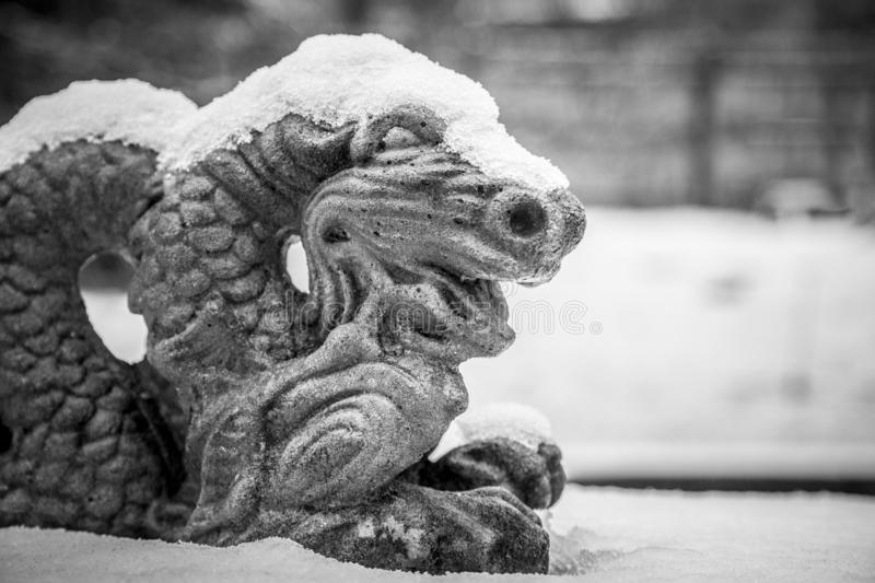 Snow-covered dragon statue. In black & white royalty free stock photography