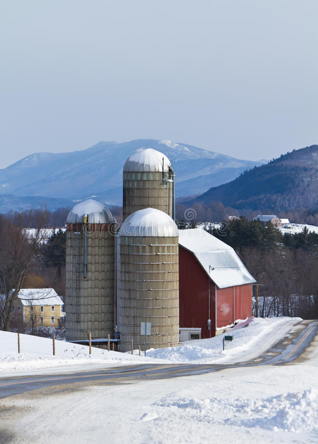 Snow covered farm stock photography