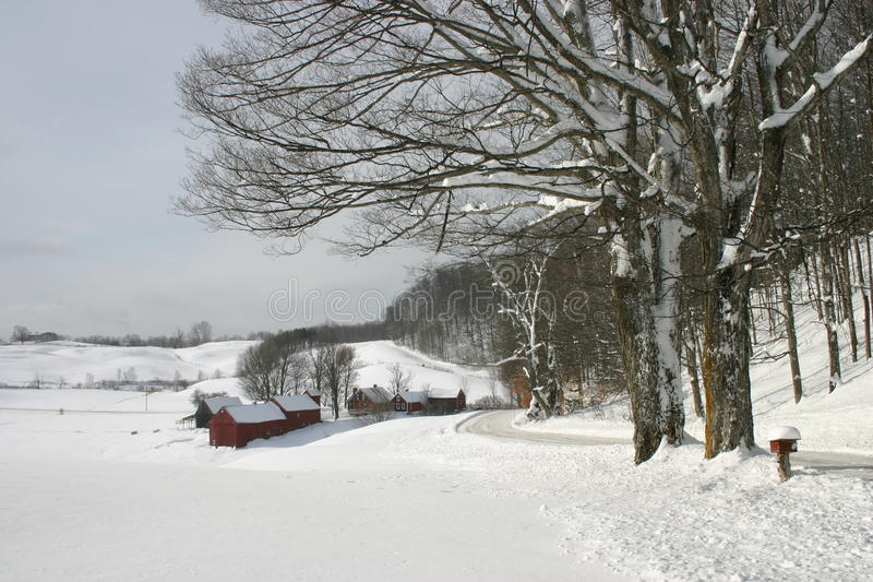 Download Snow Covered Farm Nestled In The Hills Of Vermont Stock Photo - Image: 21512924