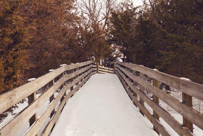 Snow Covered Foot Bridge stock photo