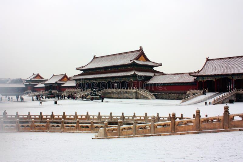 Snow covered forbidden city stock photos