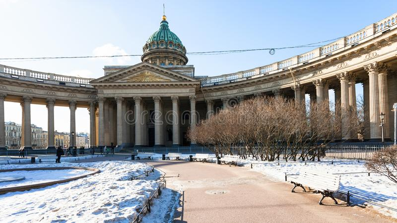 snow-covered garden near Kazan Cathedral in March royalty free stock photography