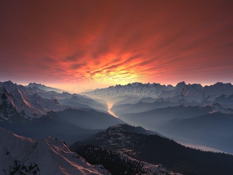 Snow-covered Gebirgstal-Sonnenuntergang stockfotos