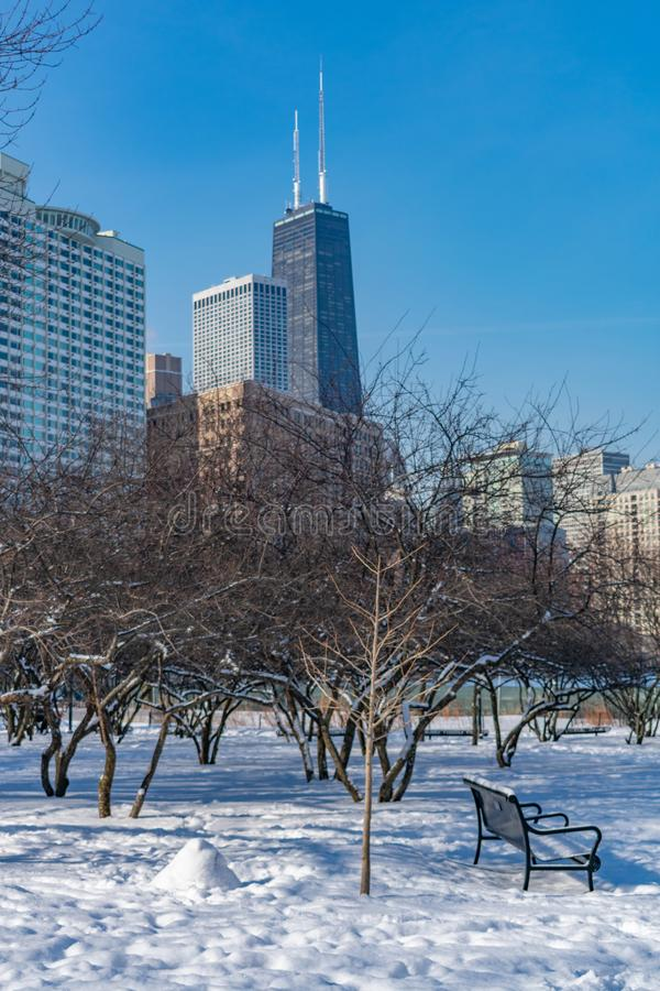 Winter Park Scene with Bench at Jane Addams Memorial Park in Chicago stock image